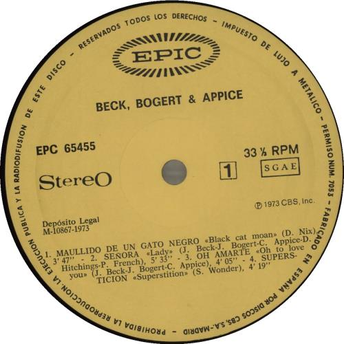 Beck, Bogert & Appice Beck, Bogert, Appice vinyl LP album (LP record) Spanish APILPBE684654