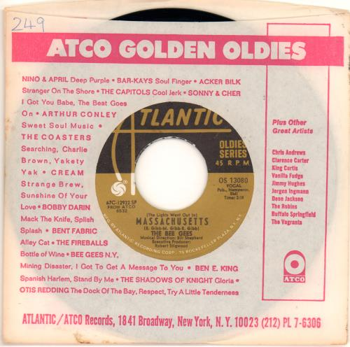 """Bee Gees Massachusetts (The Lights Went Out In) 7"""" vinyl single (7 inch record) US BGE07MA672428"""