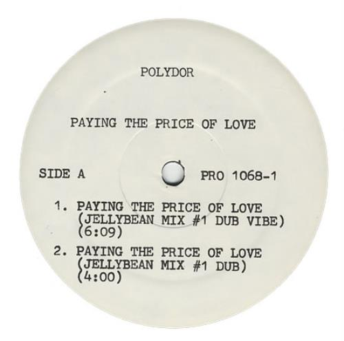 "Bee Gees Paying The Price Of Love 12"" vinyl single (12 inch record / Maxi-single) US BGE12PA24394"