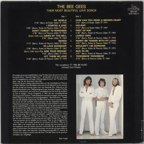 Bee Gees Their Most Beautiful Love Songs vinyl LP album (LP record) Belgian BGELPTH727948
