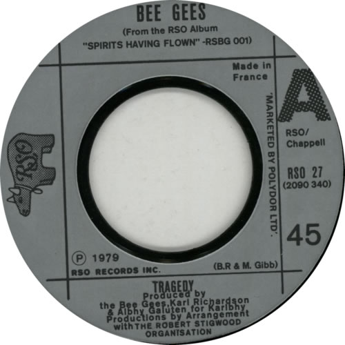 "Bee Gees Tragedy - P/S 7"" vinyl single (7 inch record) French BGE07TR618002"