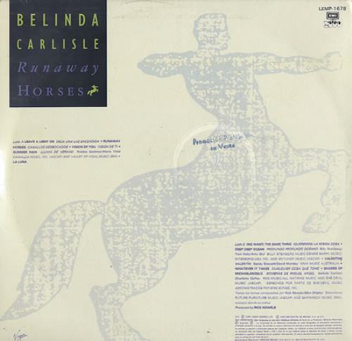 Belinda Carlisle Runaway Horses Mexican Vinyl Lp Album Lp