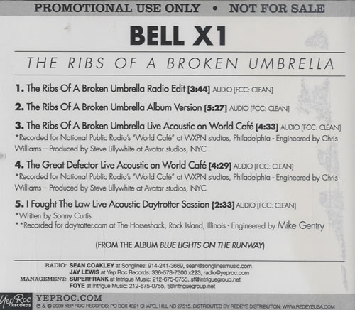 "Bell X1 The Ribs Of A Broken Umbrella CD single (CD5 / 5"") US BX1C5TH486647"