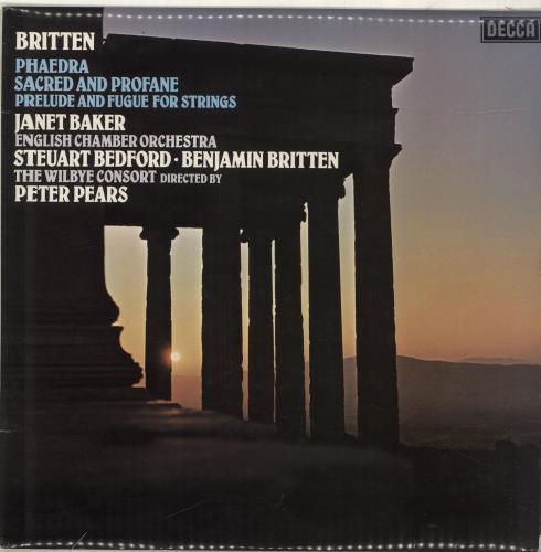 Benjamin Britten Phaedra / Sacred And Profane / Prelude And Fugue For Strings vinyl LP album (LP record) UK B1-LPPH690427