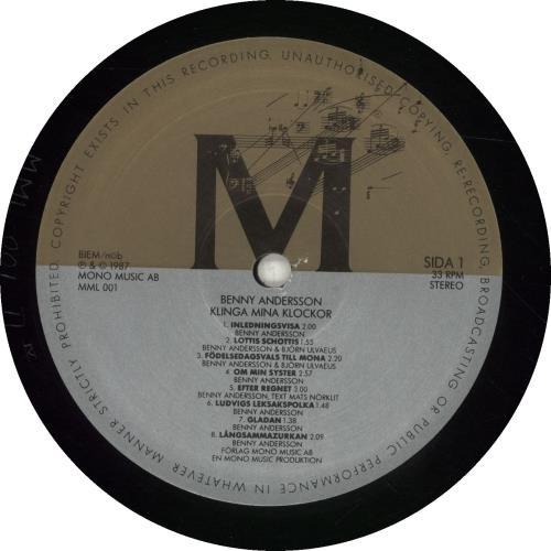 Benny Andersson Klinga Mina Klocker vinyl LP album (LP record) Swedish BNALPKL39356