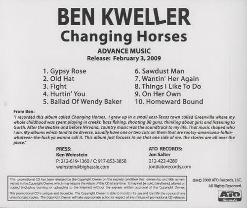 Ben Kweller Changing Horses CD-R acetate US BKWCRCH461196