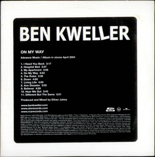 Ben Kweller On My Way CD album (CDLP) US BKWCDON519728