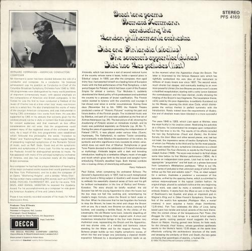Bernard Herrmann Great Tone Poems For Orchestra vinyl LP album (LP record) UK 1BHLPGR741787