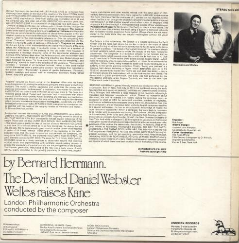 Bernard Herrmann The Devil And Daniel Webster / Welles Raises Kane vinyl LP album (LP record) UK 1BHLPTH697214