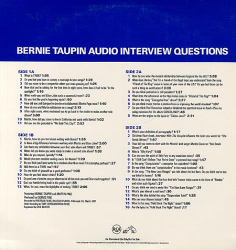 Bernie Taupin An Interview With Bernie Taupin 2-LP vinyl record set (Double Album) US B-T2LAN27076
