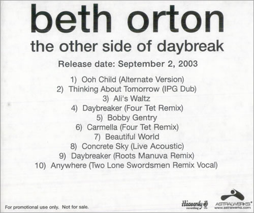 Beth Orton The Other Side Of Daybreak US Promo CD-R acetate