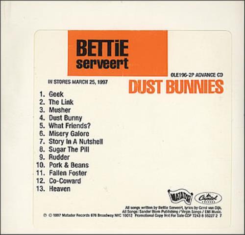 Bettie Serveert Dust Bunnies CD album (CDLP) US BSVCDDU379603