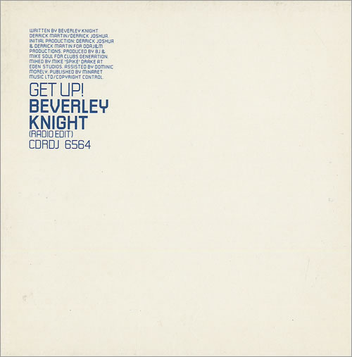 "Beverley Knight Get Up! CD single (CD5 / 5"") UK BKIC5GE497078"