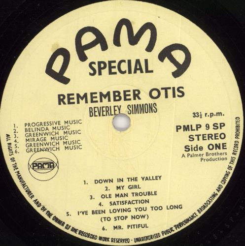 Beverley Simmons Remember Otis vinyl LP album (LP record) UK 0E0LPRE728419