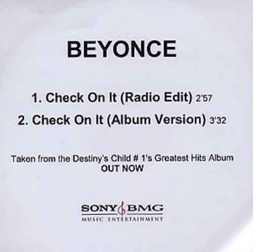 Beyoncé Knowles Check On It CD-R acetate UK BYKCRCH354104
