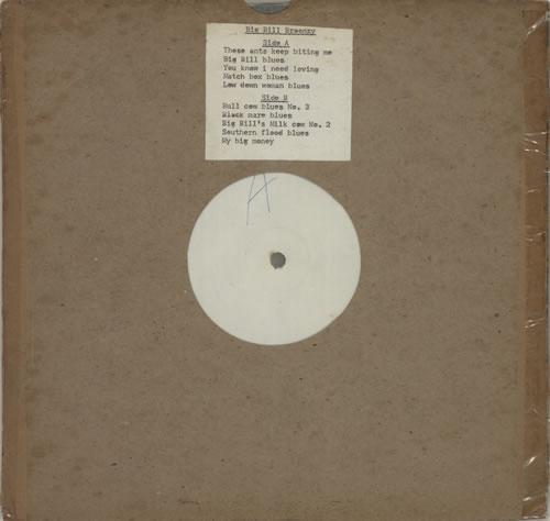 "Big Bill Broonzy Big Bill Broonzy - White Label 10"" vinyl single (10"" record) UK BGZ10BI630772"