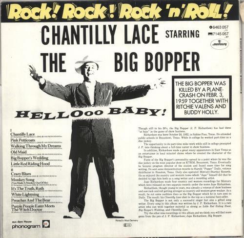 Big Bopper Chantilly Lace vinyl LP album (LP record) German B7BLPCH712467