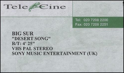 Big Sur Desert Song video (VHS or PAL or NTSC) UK IURVIDE203922