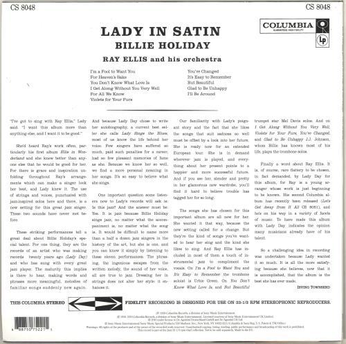 Billie Holiday Lady In Satin - 180gm vinyl LP album (LP record) UK B/HLPLA713774