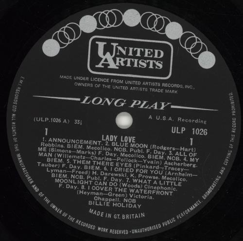 Billie Holiday Lady Love vinyl LP album (LP record) UK B/HLPLA705424