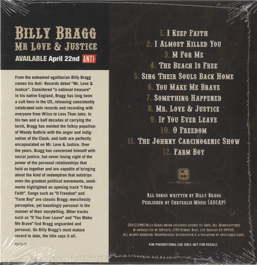 Billy Bragg Mr Love Justice CD album (CDLP) US BBRCDMR451815