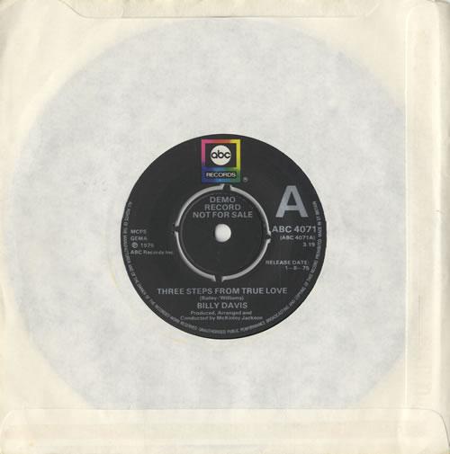 "Billy Davis Three Steps From True Love 7"" vinyl single (7 inch record) UK 6BD07TH472772"