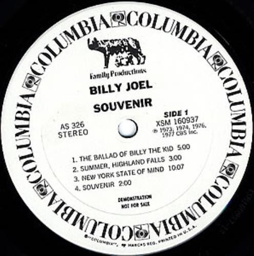 Billy Joel Souvenir Us Promo Vinyl Lp Album Lp Record