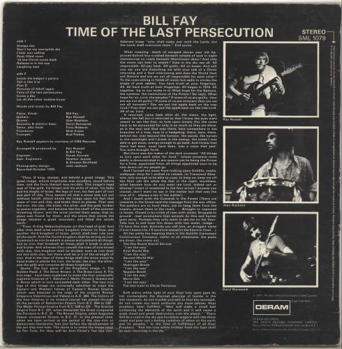 Bill Fay Time Of The Last Persecution vinyl LP album (LP record) UK E39LPTI698395
