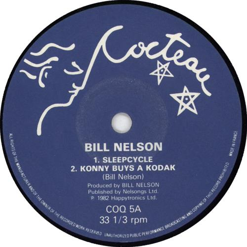 "Bill Nelson Sleepcycle 7"" vinyl single (7 inch record) UK BSN07SL717517"