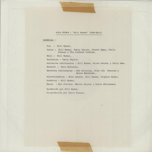 Bill Wyman Bill Wyman vinyl LP album (LP record) Spanish WYMLPBI647571