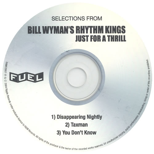 Bill Wyman Selections From Just For A Thrill CD-R acetate US WYMCRSE356565