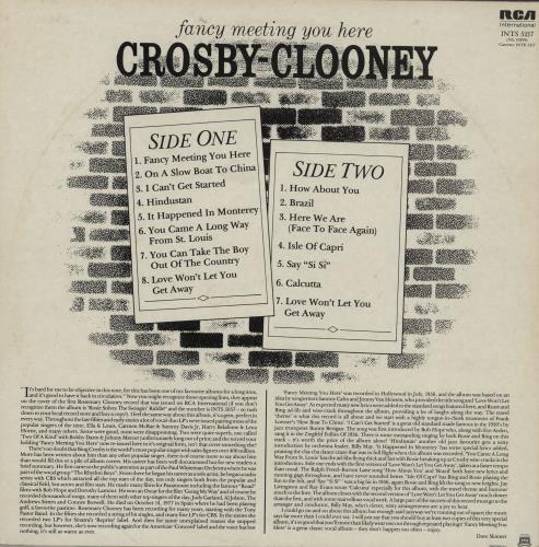 Bing Crosby & Rosemary Clooney Fancy Meeting You Here vinyl LP album (LP record) UK D9OLPFA761874