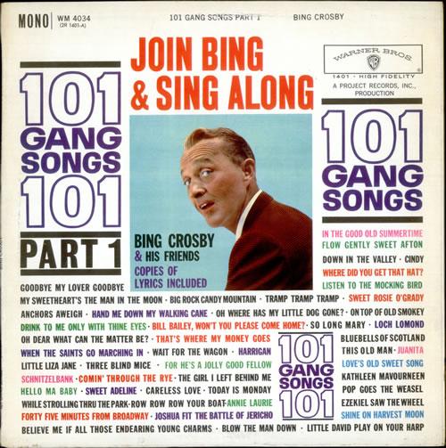 Bing Crosby 101 Gang Songs - Part 1 vinyl LP album (LP record) UK BNGLPGA523705