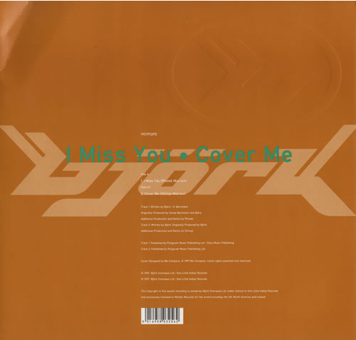"Björk I Miss You / Cover Me 12"" vinyl single (12 inch record / Maxi-single) UK BJK12IM88330"