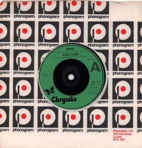 "Black Blood Amanda 7"" vinyl single (7 inch record) UK BQB07AM662710"
