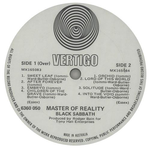 Black Sabbath Master Of Reality 1st Poster Australian