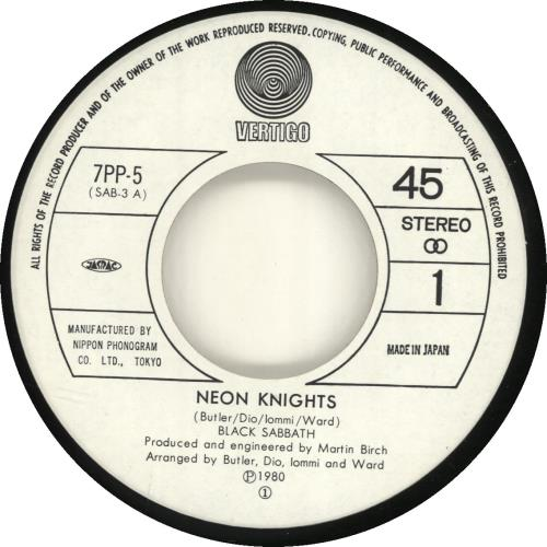 "Black Sabbath Neon Knights 7"" vinyl single (7 inch record) Japanese BLK07NE68473"