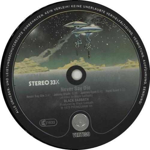 Black Sabbath Never Say Die! vinyl LP album (LP record) German BLKLPNE682270