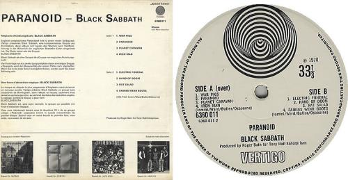 Black Sabbath Paranoid Swiss Record Club Issue Swiss
