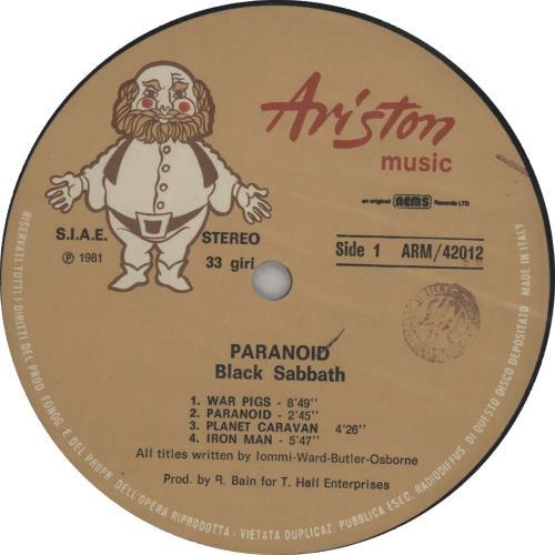 Black Sabbath Paranoid vinyl LP album (LP record) Italian BLKLPPA650344