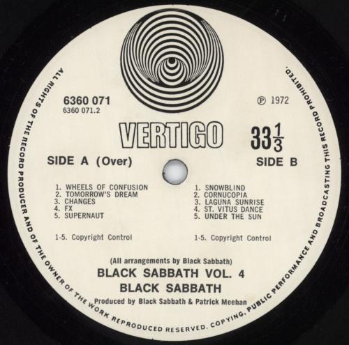 Black Sabbath Vol. 4 - 1st - EX vinyl LP album (LP record) UK BLKLPVO68365