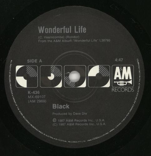 "Black Wonderful Life + Sleeve 7"" vinyl single (7 inch record) Australian BAK07WO747405"