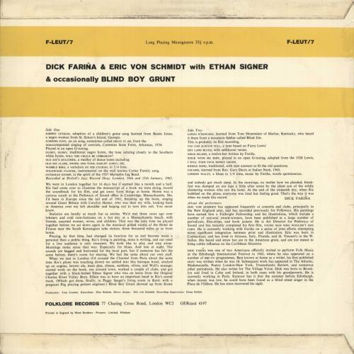 Blind Boy Grunt Dick Farina & Eric Von Schmidt vinyl LP album (LP record) UK B09LPDI749499