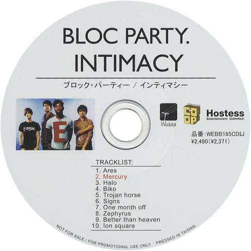 Bloc Party Intimacy Japanese Promo Cd Album Cdlp 458084