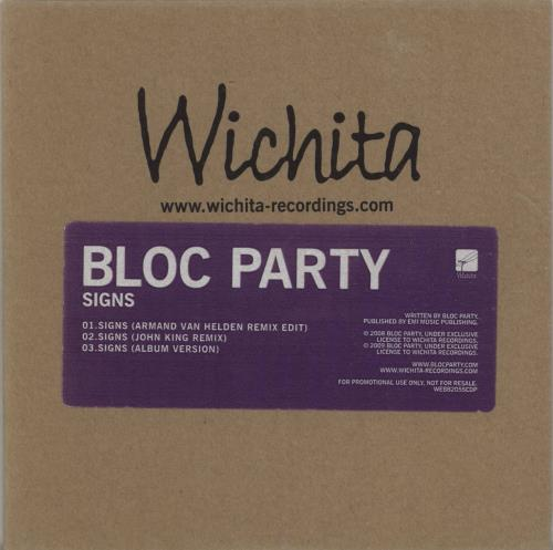Bloc Party Signs CD single (CD5 / 5