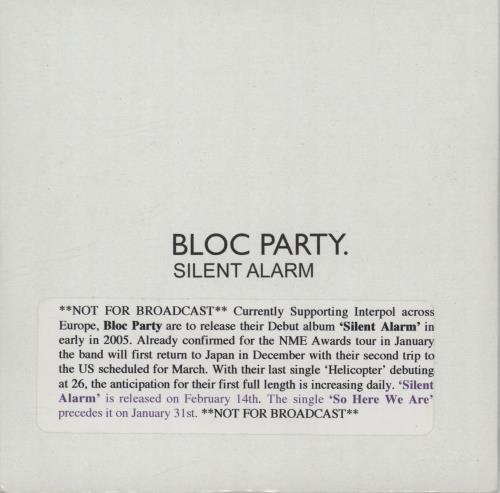 Bloc Party Silent Alarm Uk Promo Cd Album Cdlp 318805