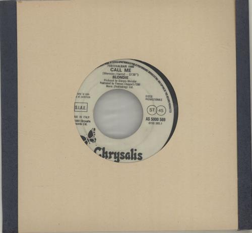 "Blondie Call Me 7"" vinyl single (7 inch record) Italian BLO07CA684218"
