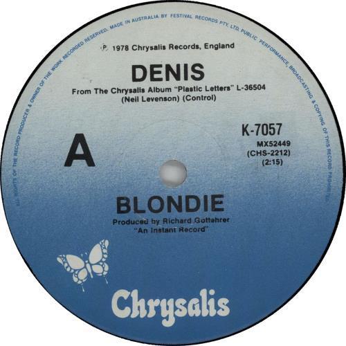 "Blondie Denis 7"" vinyl single (7 inch record) Australian BLO07DE655294"
