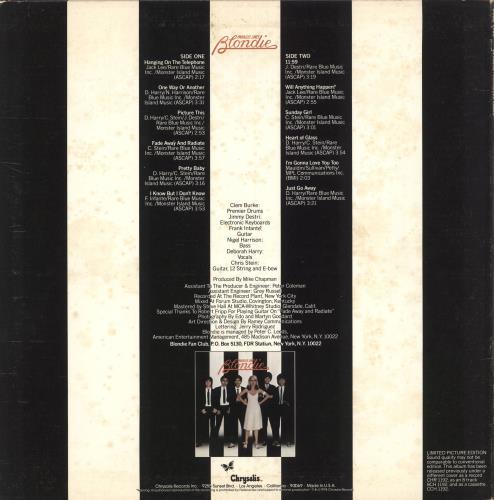 Blondie Parallel Lines - EX picture disc LP (vinyl picture disc album) US BLOPDPA727547