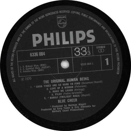 Blue Cheer The Original Human Being - VG vinyl LP album (LP record) UK BCELPTH725859